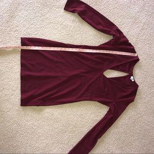 Tobi Dresses - TOBI Low Cut / V-Shape Long Sleeve Maroon Dress L